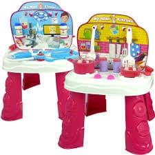 Комплект за игра 2в1-кухня и лекарски сет