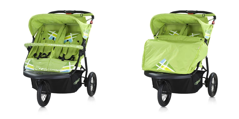 Бебешка количка триколка за близнаци Дуо с помпащи гуми - Цвят: Зелен