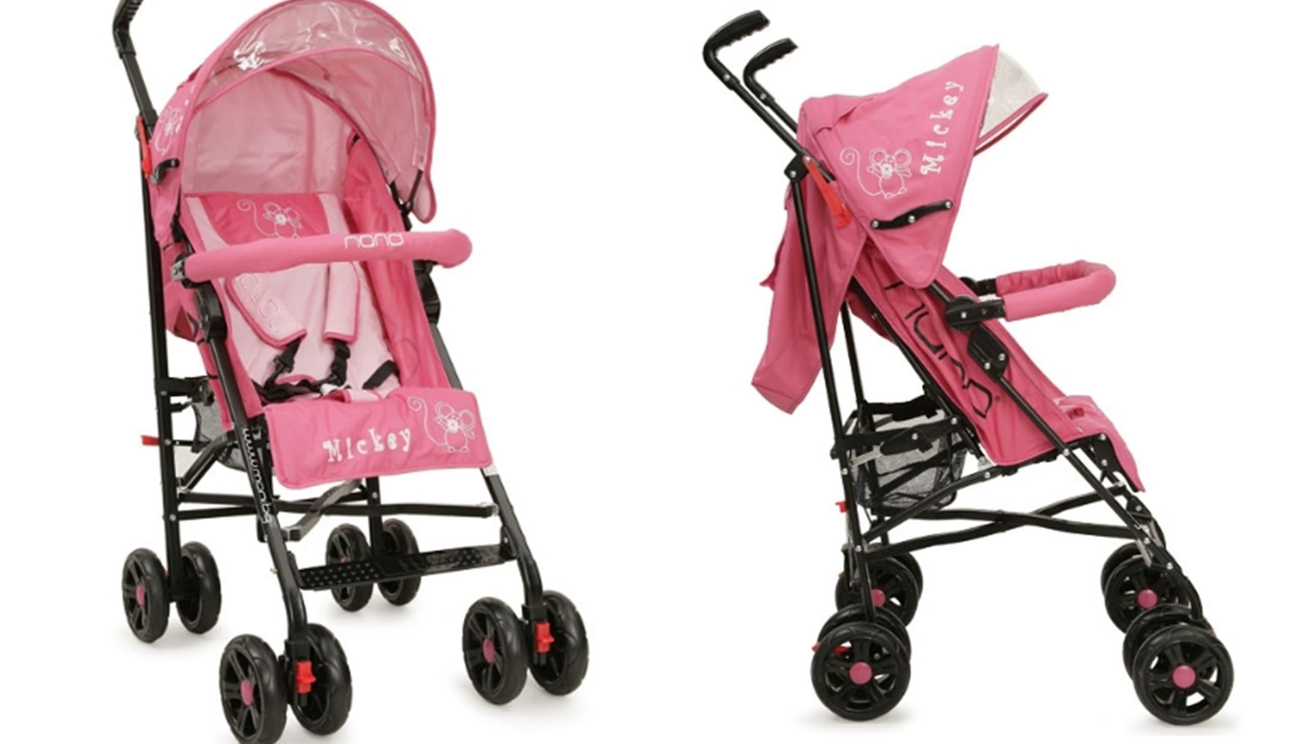 Лятна бебешка количка Mickey - Цвят: Розов