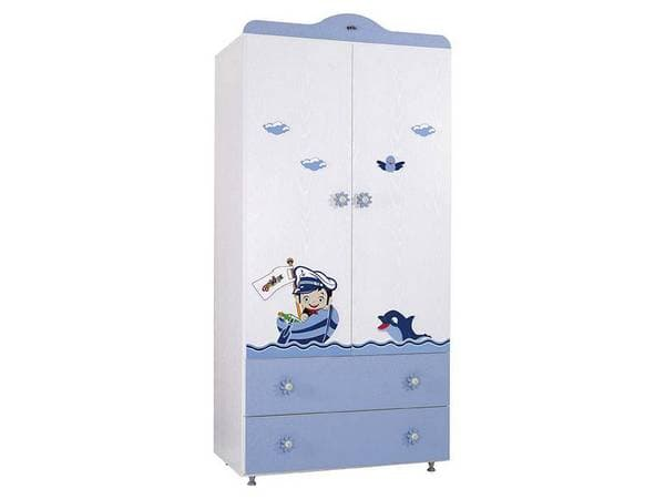 Детски двукрилен гардероб 942 с картинка Babyhope - Цвят: Син