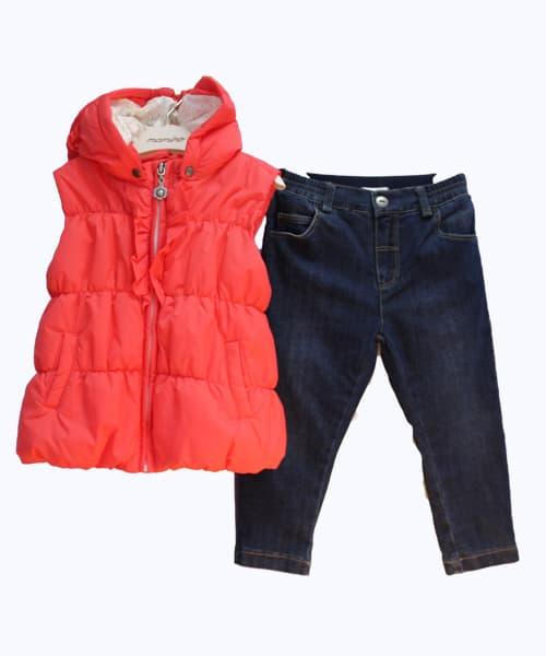 Комплект за момиче 2 части - дънки, елек
