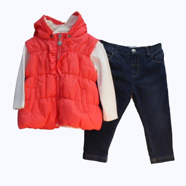 Комплект за момиче 3 части -елек, дънки, блуза