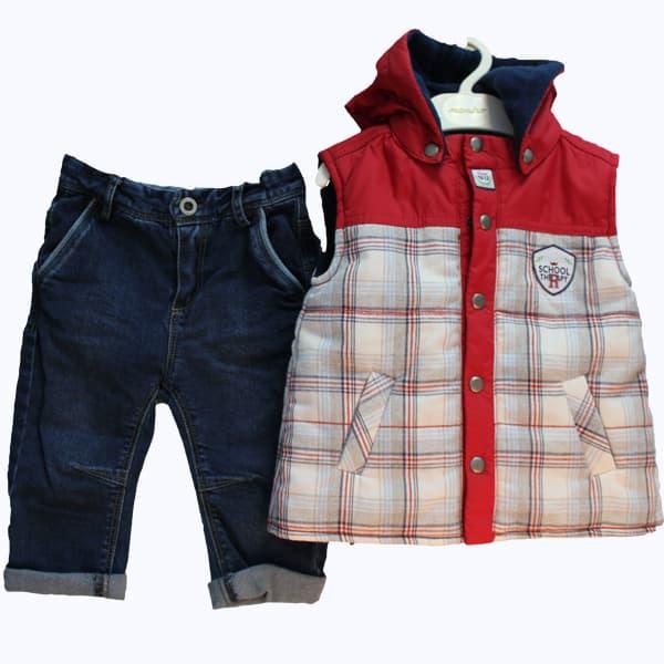 Детски комплект дънки с елек за момче
