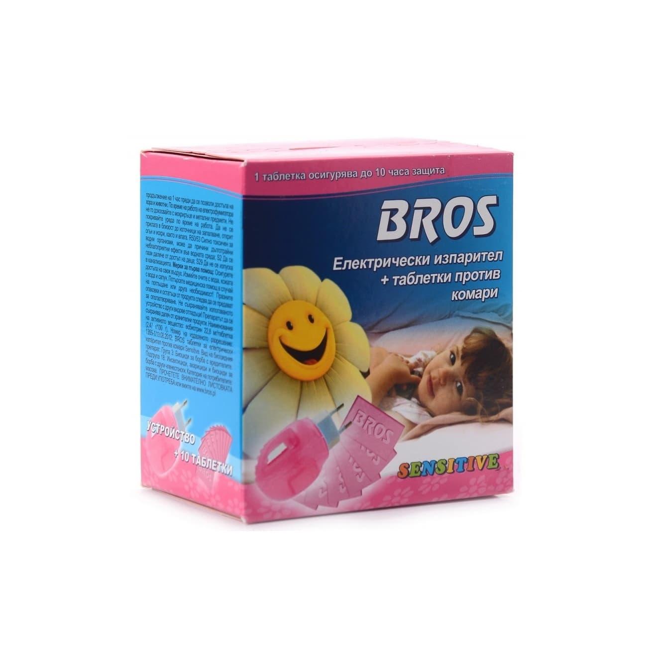 Bros-Електрически изпарител+таблетки против комари Sensitive