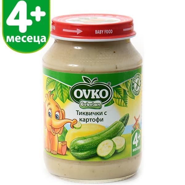 Ovko-Пюре тиквички и картофи 4м+ 190гр