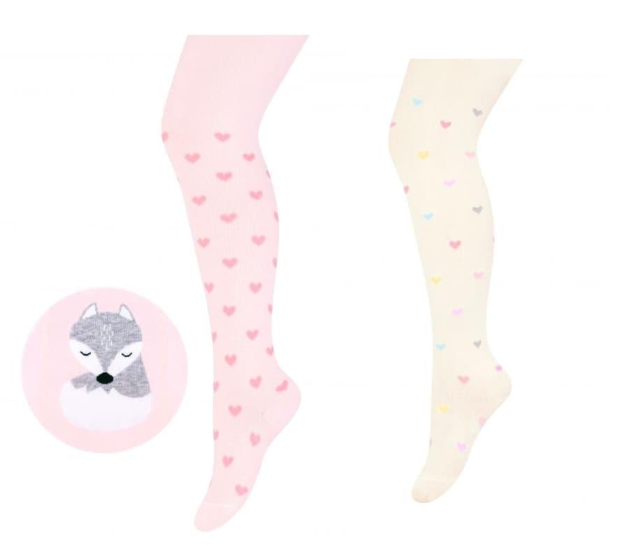 Steven-бебешки чорапогащник Fox pink/white 2бр в кутия