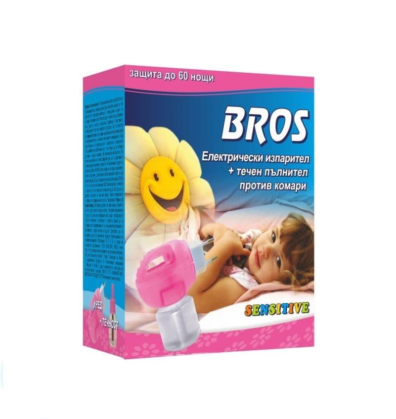 Bros-Електрически изпарител+течен пълнител против комари Sensitive