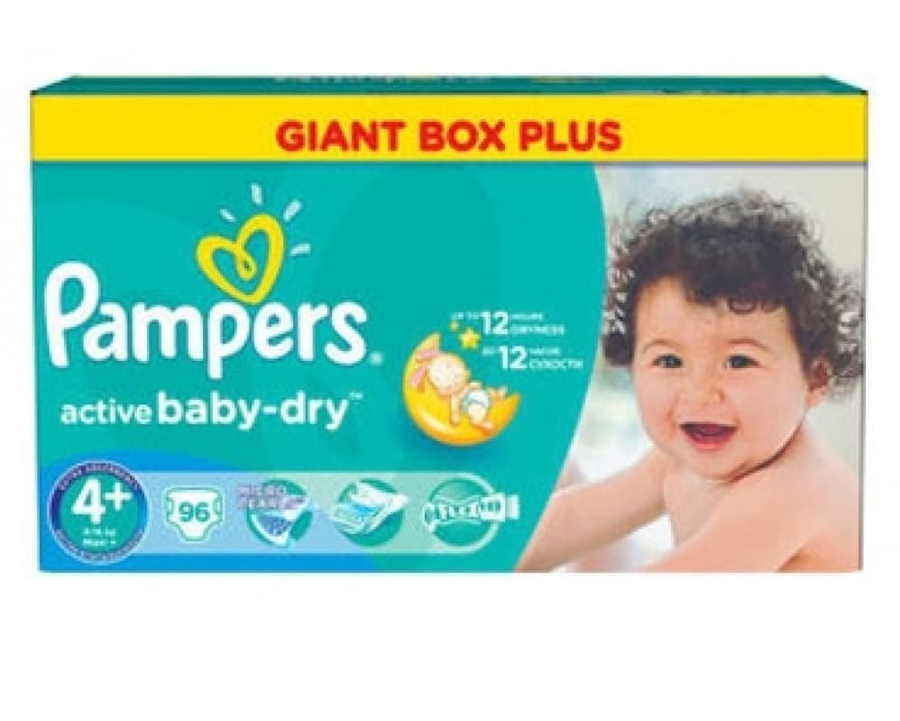 Pampers Active baby 4+ Maxi+ 9-16кг 96бр