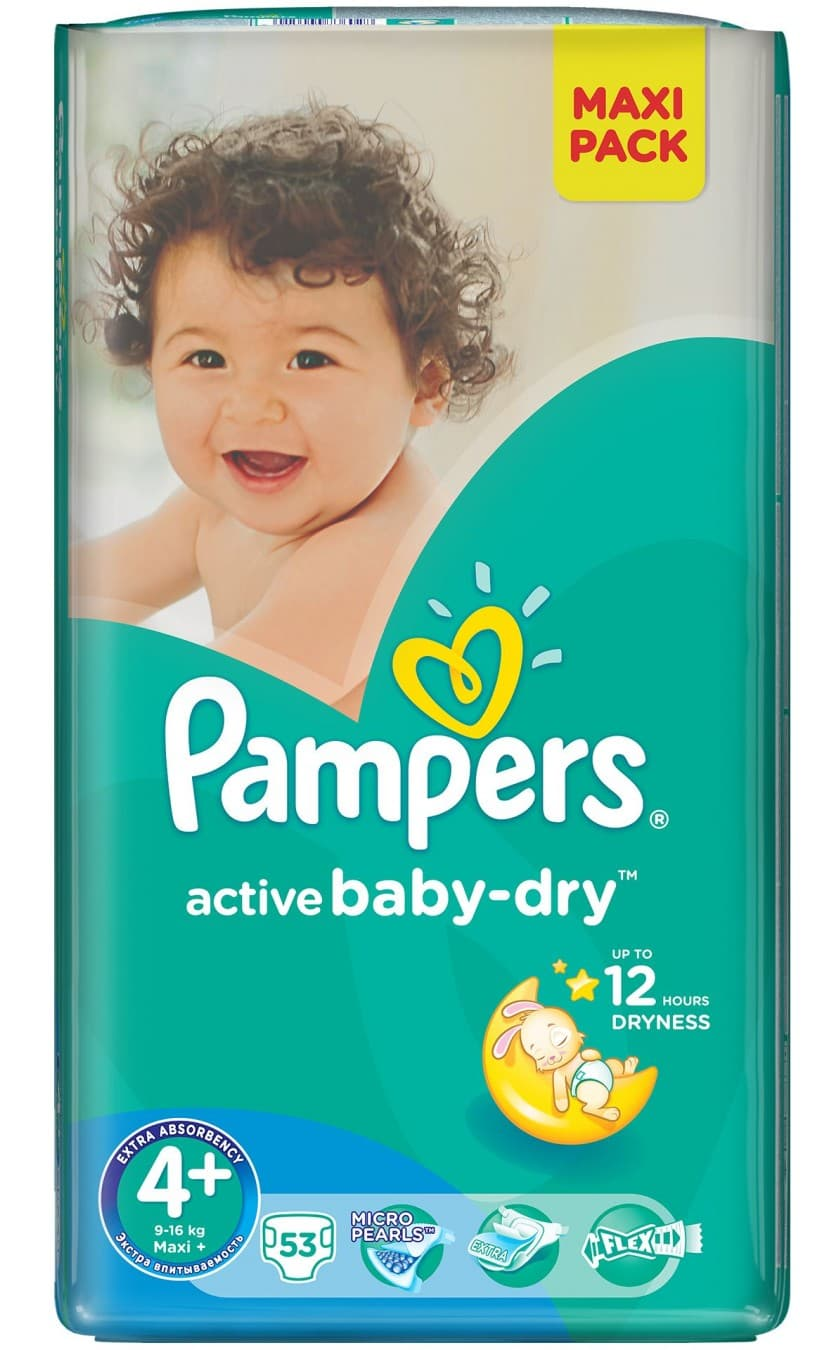 Pampers Active baby4+ Maxi+ 9-16кг 53бр