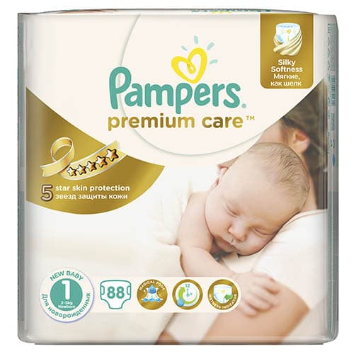 Pampers Premium care New born1 2-5кг 88бр