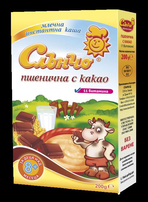 Слънчо- Млечна пшенична каша с какао 8м+ 200гр