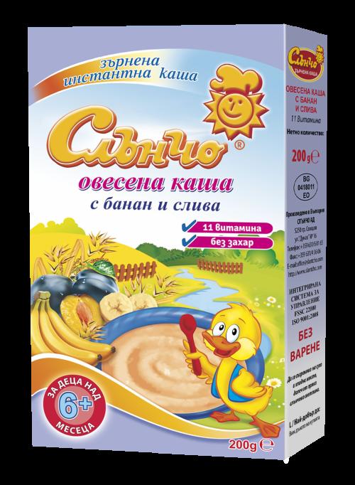 Слънчо-Овесена каша с банан и слива 6м+ 200гр