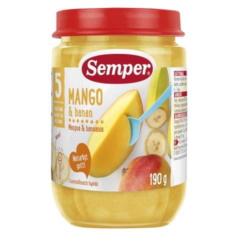 Semper-Пюре манго с банани 6м+ 190гр