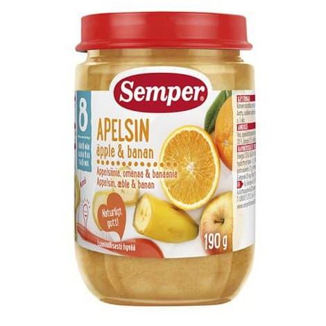 Semper-Пюре ябълки, портокали и банани 8м+ 190гр