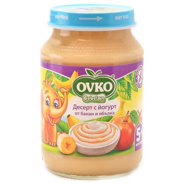 Ovko-Десерт с йогурт, банан и ябълка 5м+ 190гр