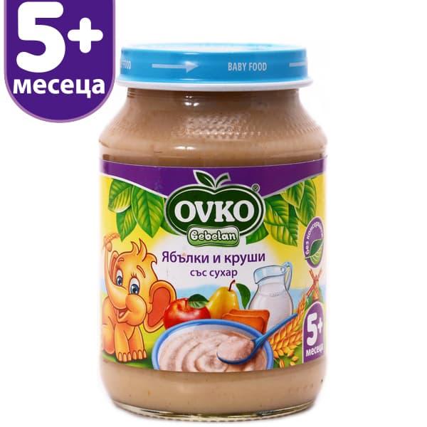 Ovko-млечна каша ябълки, круши и сухар 5м 190гр