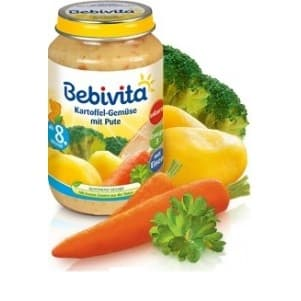 Bebevita-пюре картофи зеленчуци и пуешко 8м+ 220гр