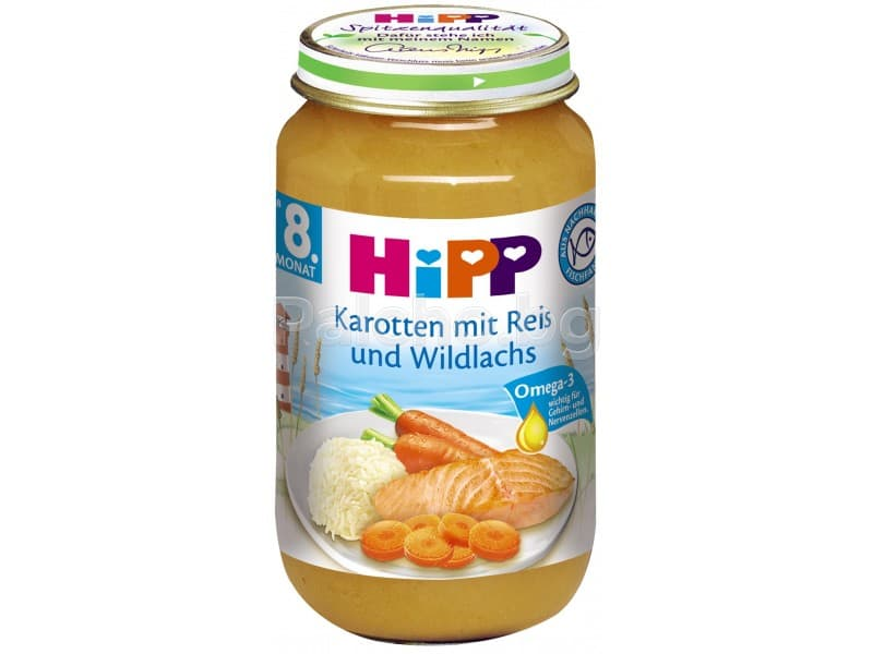 Hipp-Рибно меню с моркови ориз и сьомга 8м+ 220гр