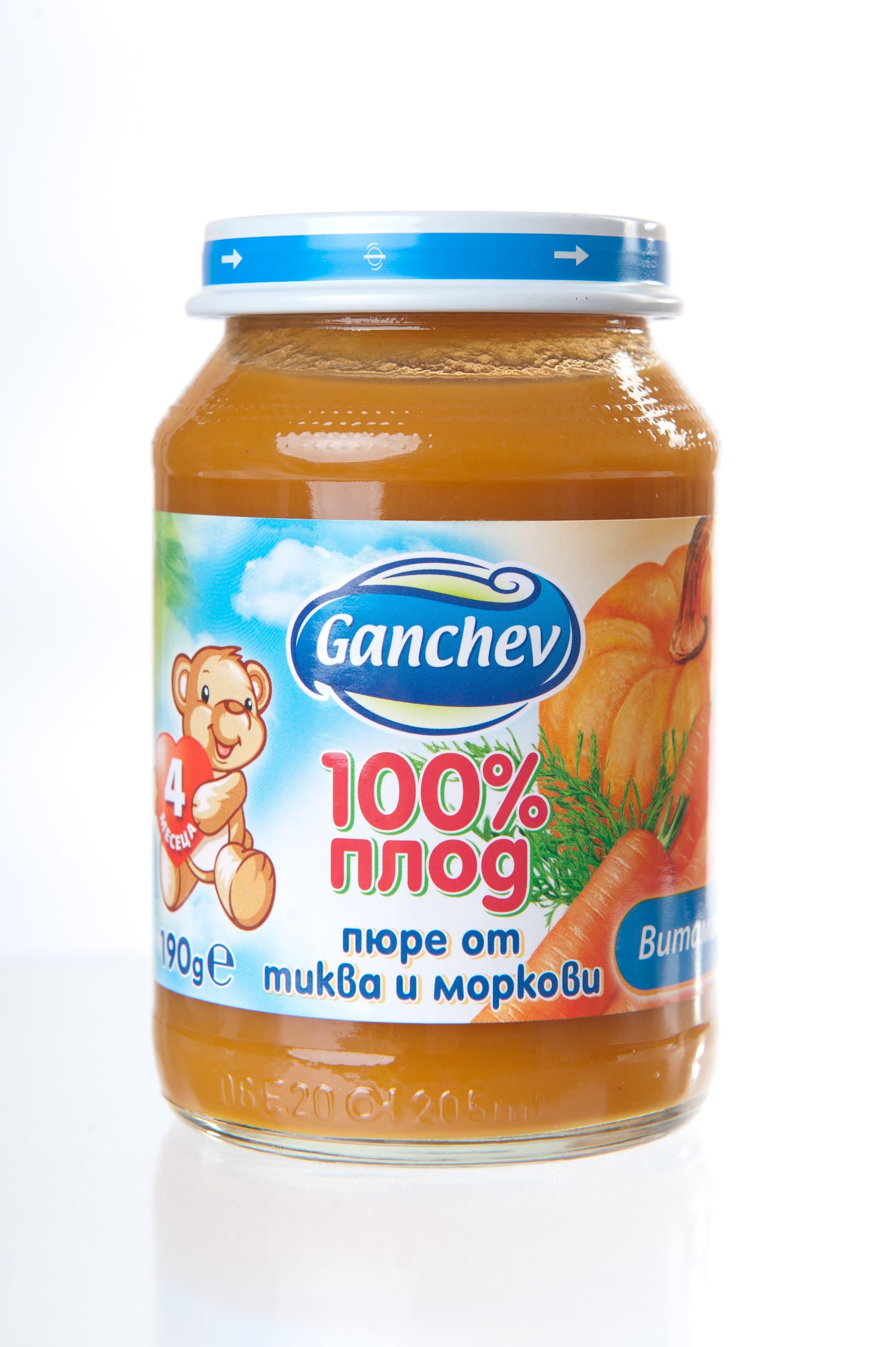 Ganchev-пюре тиква и моркови 4м+ 190гр