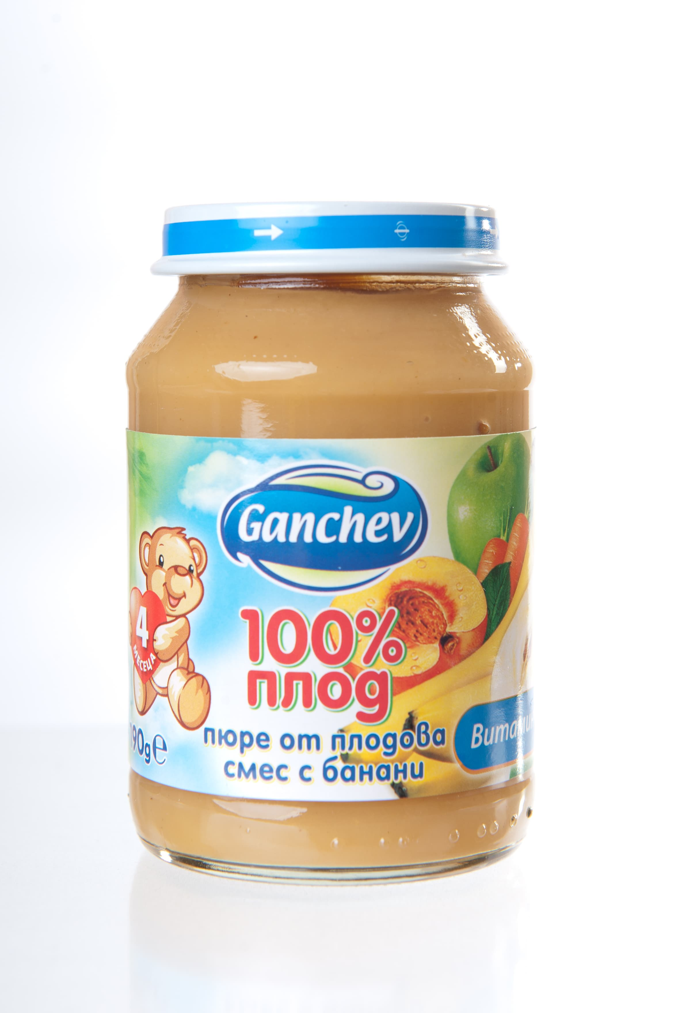 Ganchev-пюре плодова смес с банани 4м+ 190гр