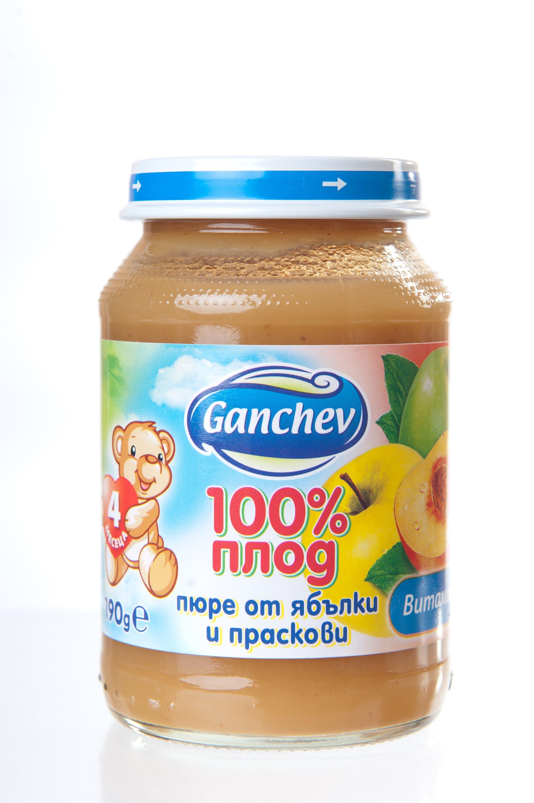 Ganchev-пюре ябълка и праскови 4м+ 190гр