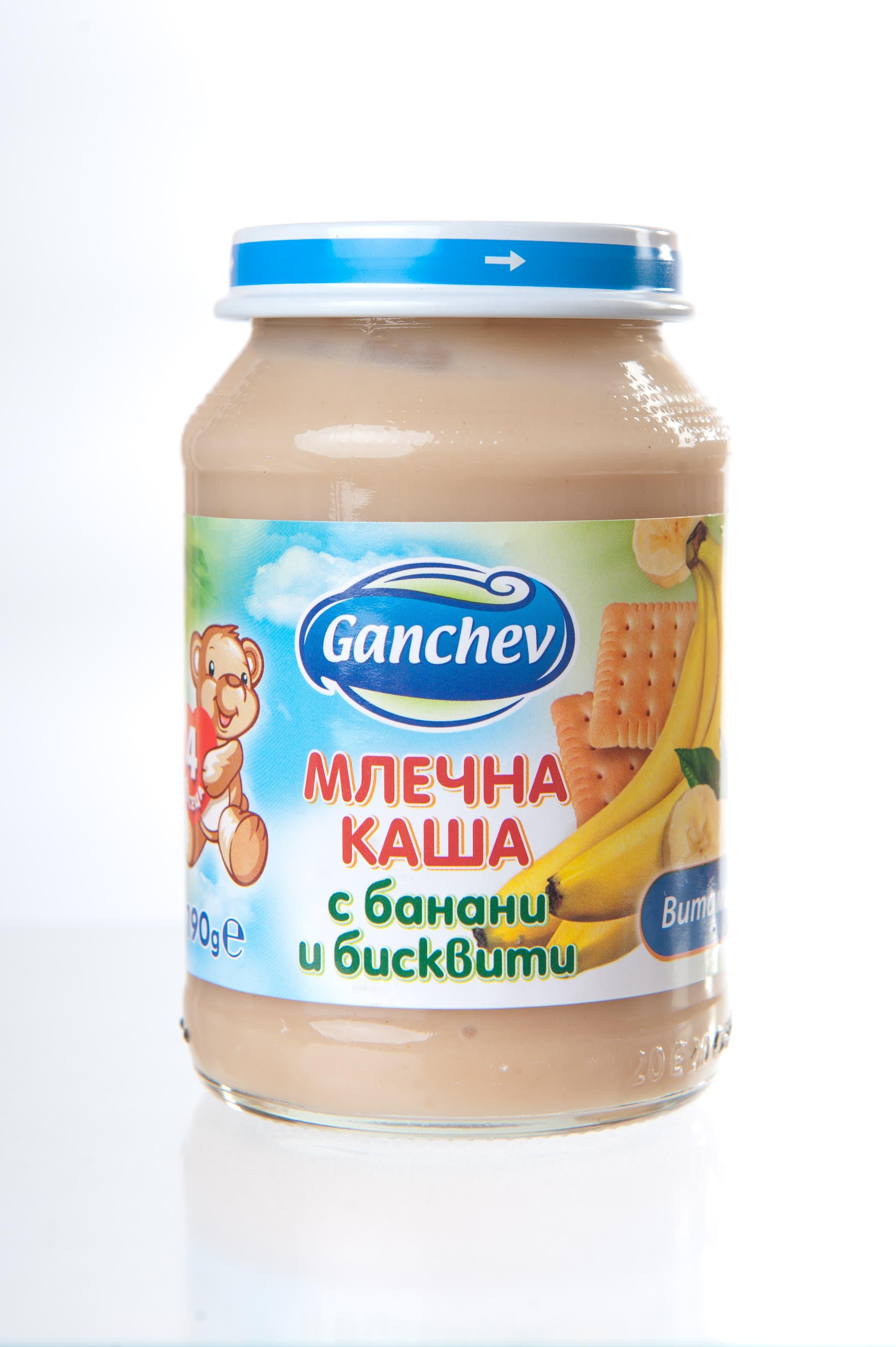 Ganchev-млечна каша с банани и бисквити 4м+190гр