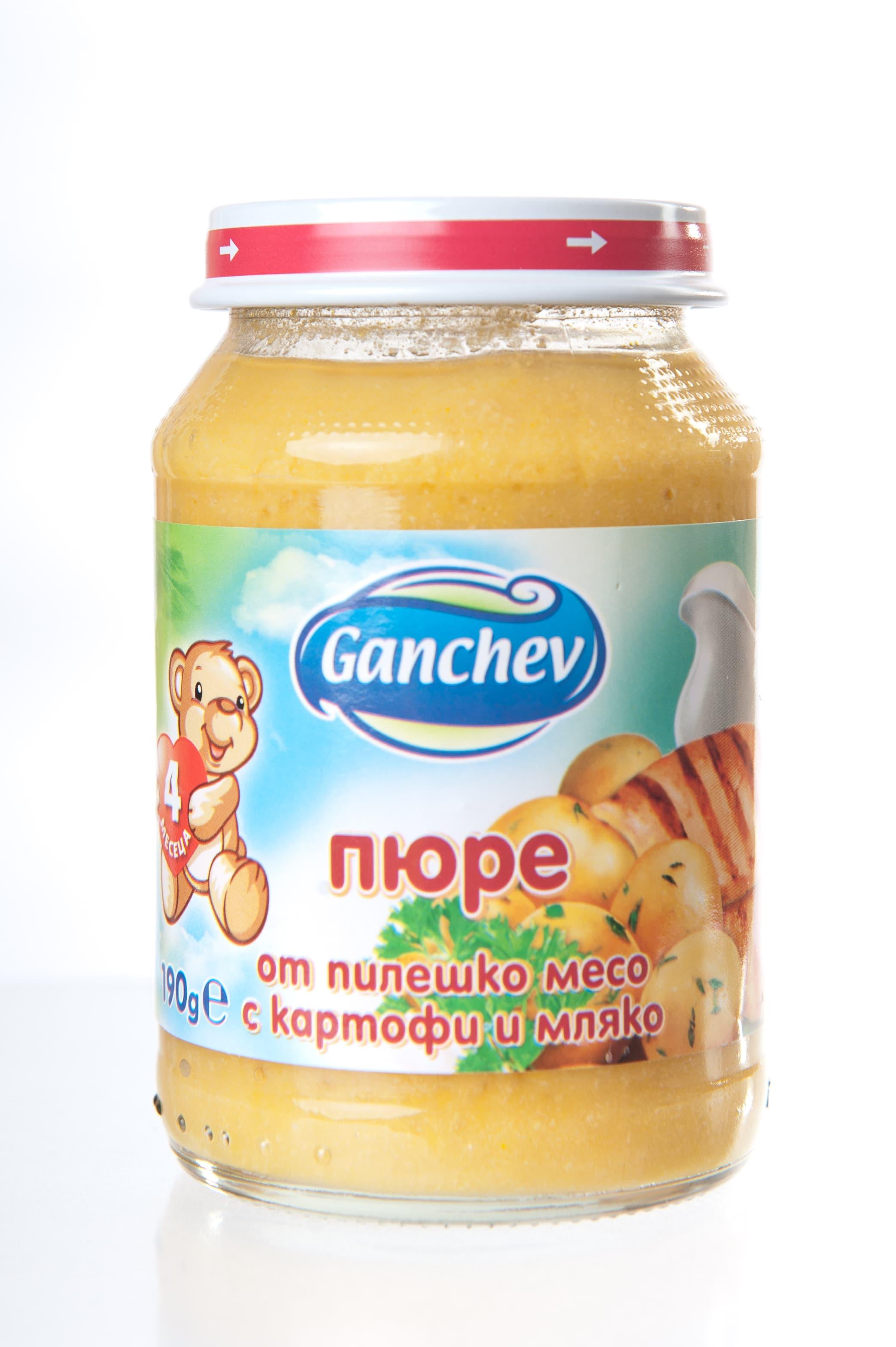 Ganchev-пюре от пилешко месо с картофи и мляко 4м+ 190гр