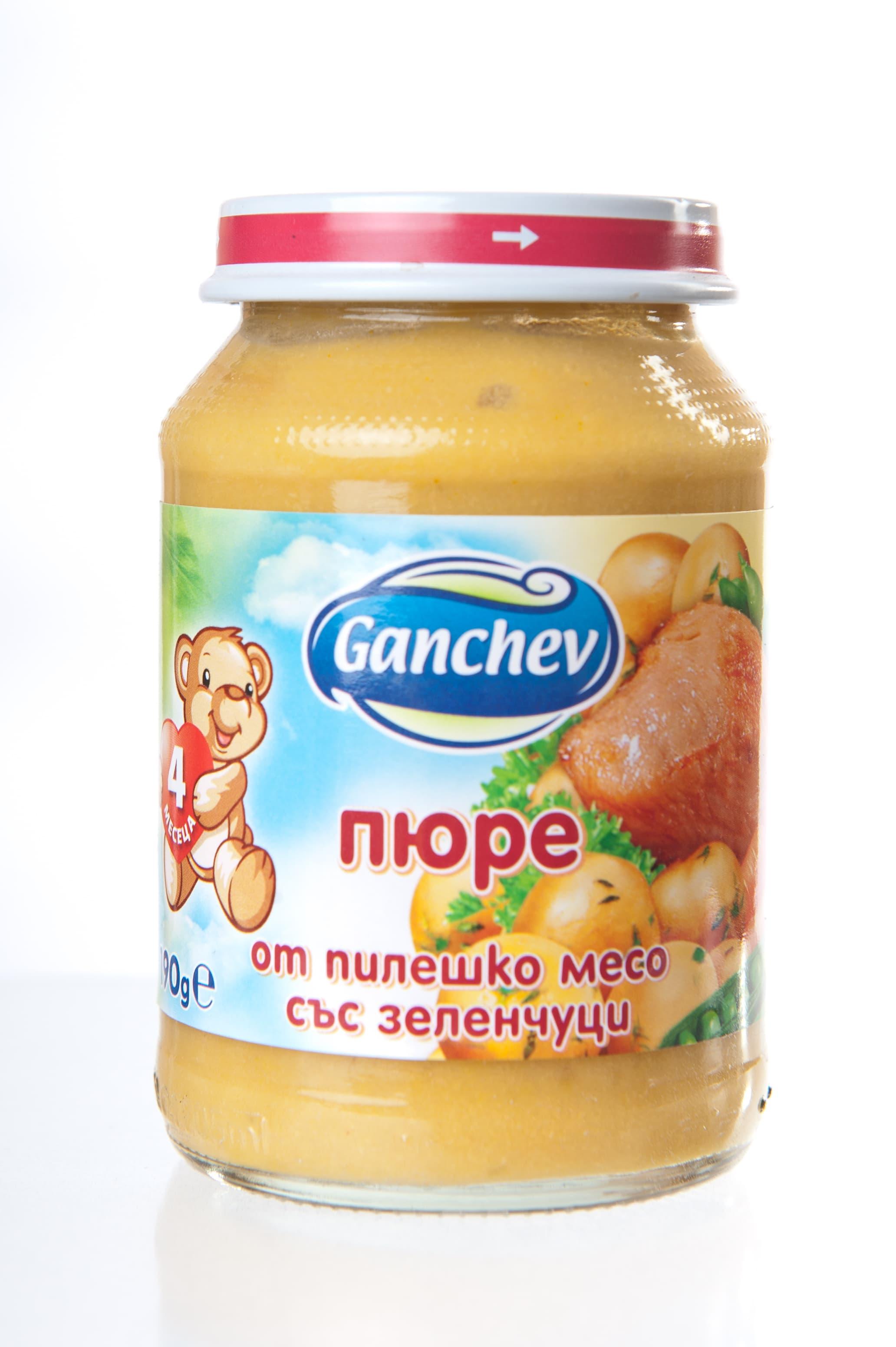 Ganchev-пюре от пилешко месо със зеленчуци 4м+ 190гр