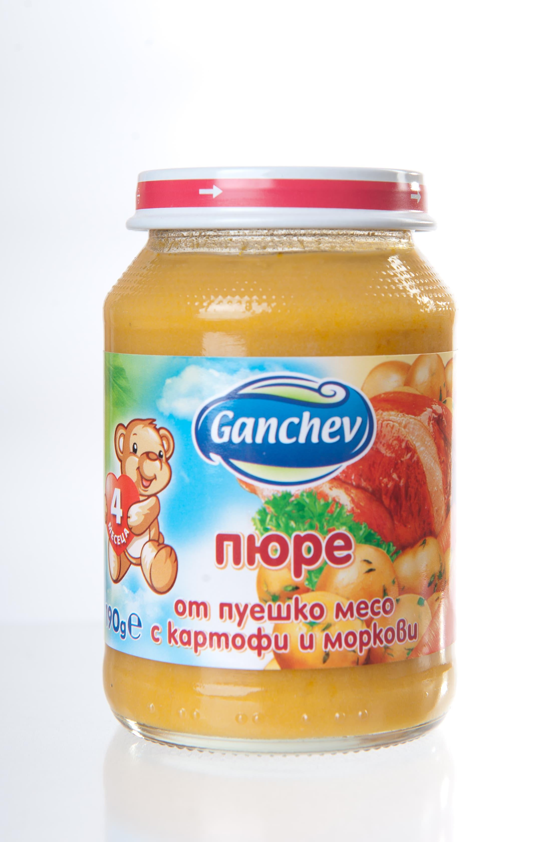 Ganchev-пюре от пуешко месо с картофи и моркови 4м+ 190гр