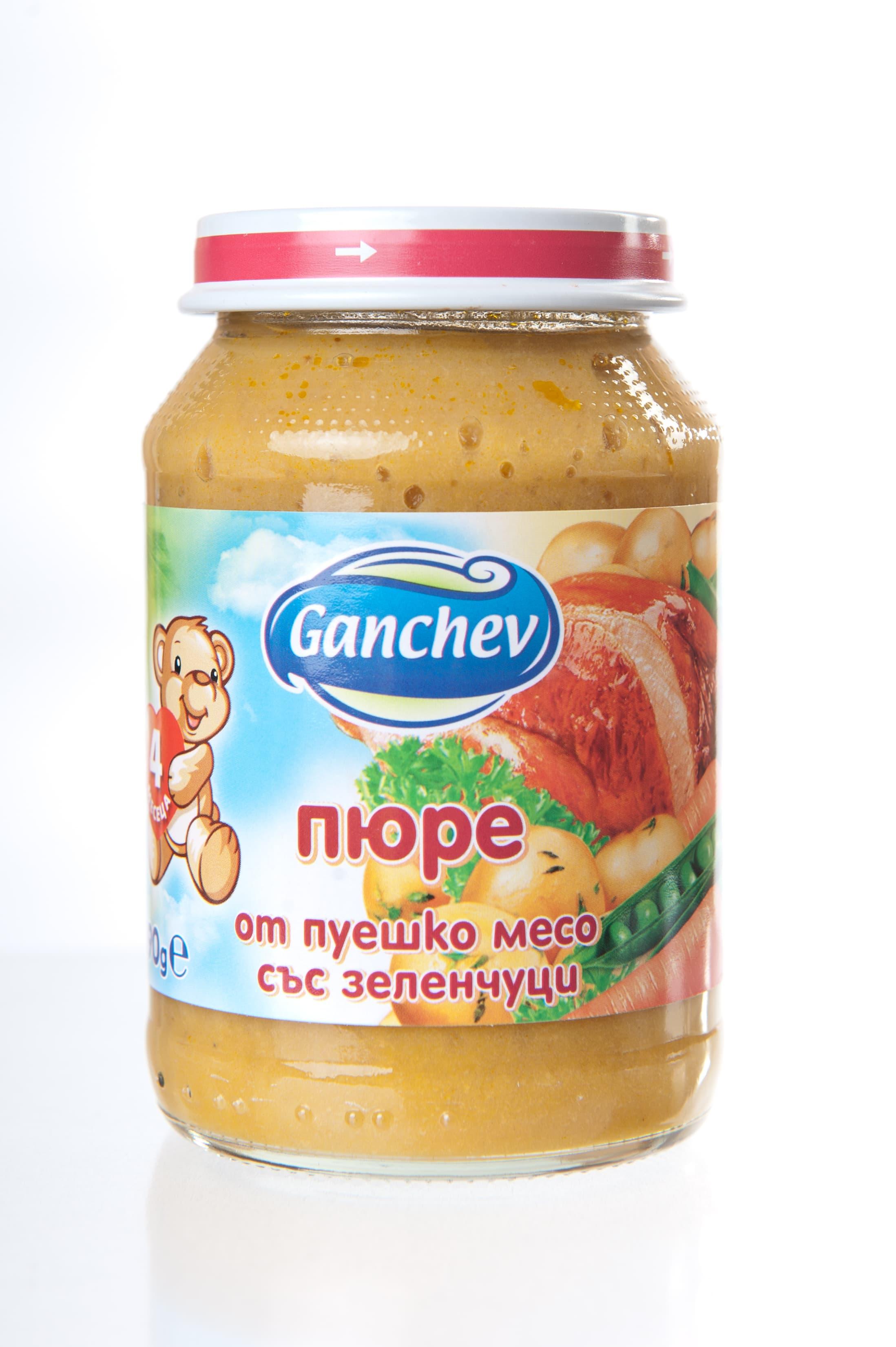 Ganchev-пюре от пуешко месо със зеленчуци 4м+ 190гр