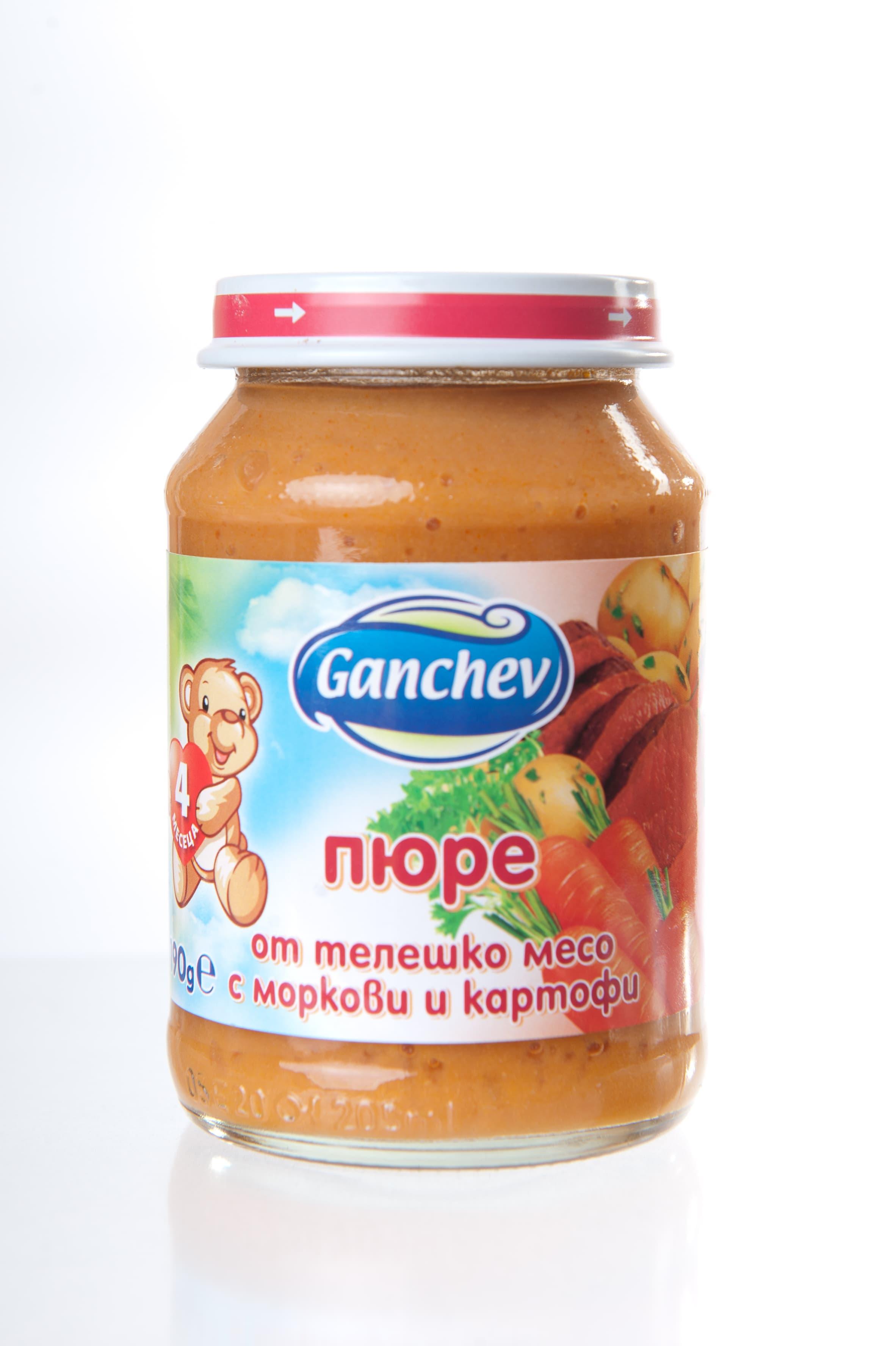 Ganchev-пюре от телешко месо с картофи и моркови 4м+ 190гр
