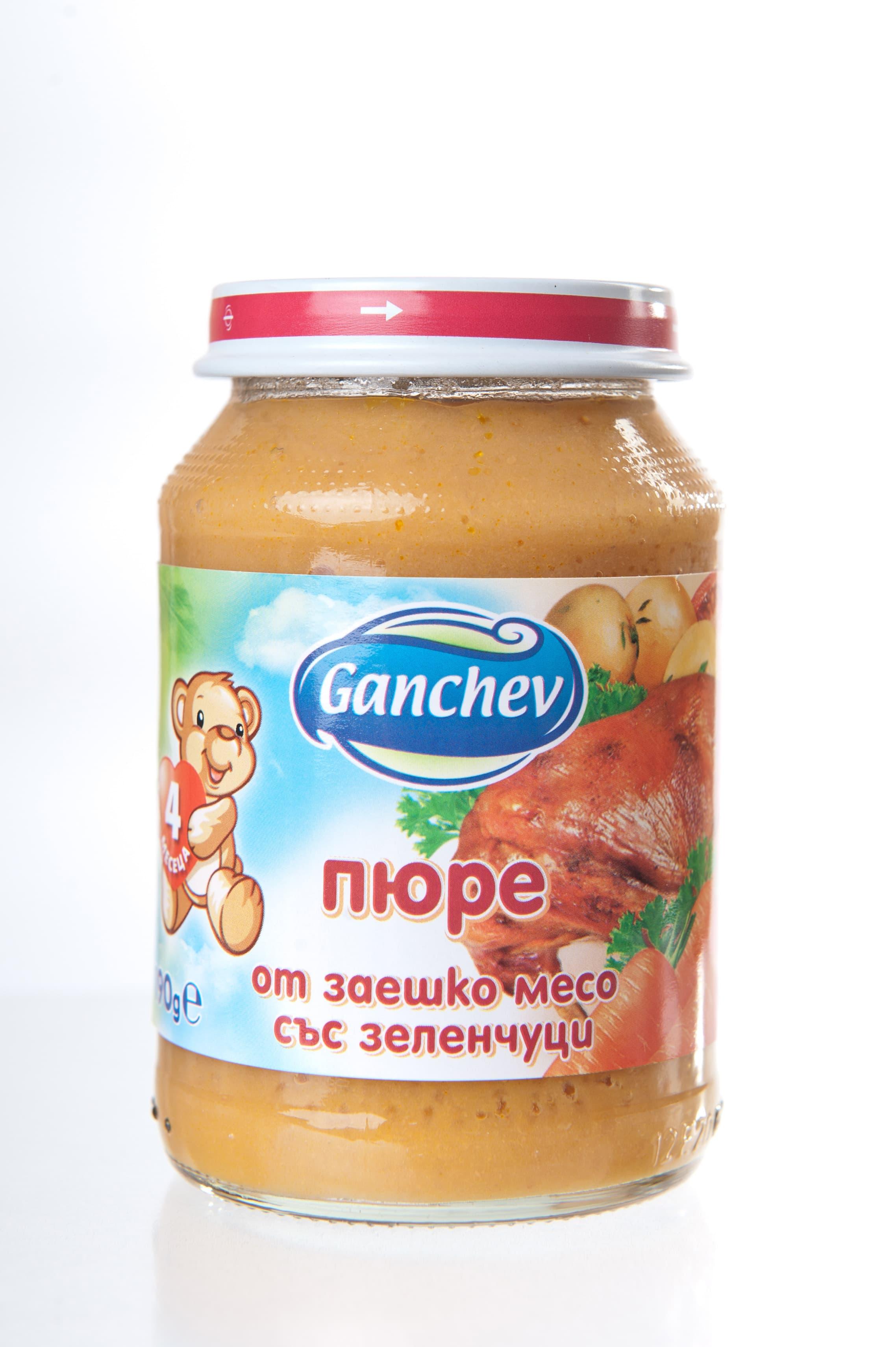 Ganchev-пюре от заешко месо със зеленчуци 4м+ 190гр