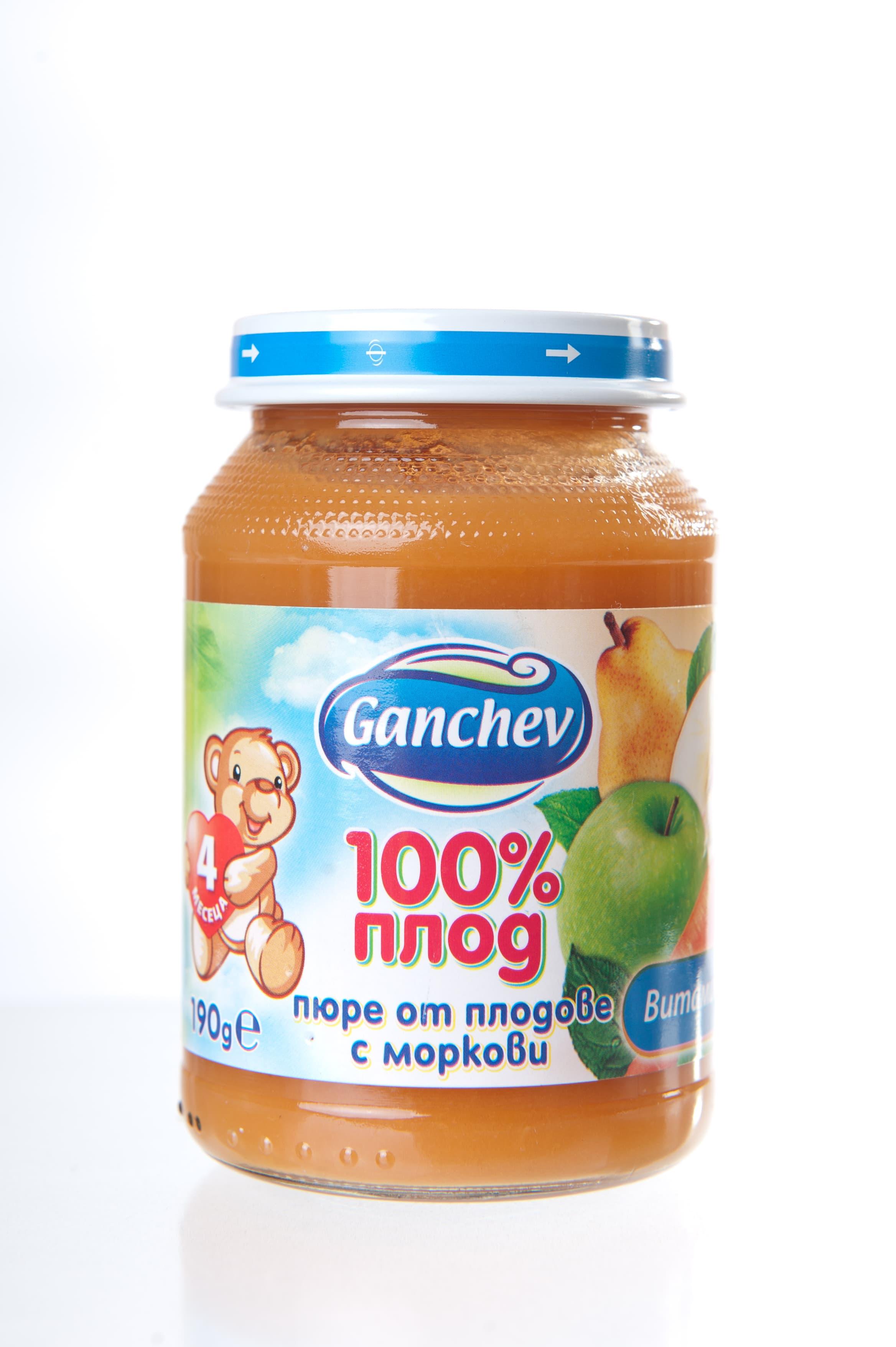 Ganchev-пюре плодове с моркови 4м+190гр
