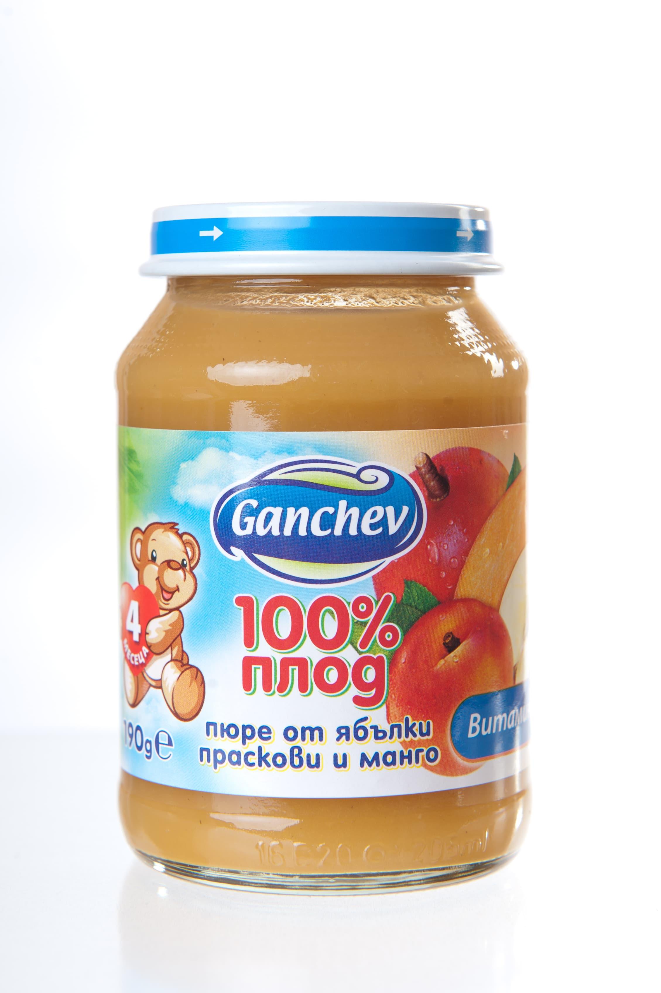 Ganchev-пюре ябълки праскови и манго 4м+190гр