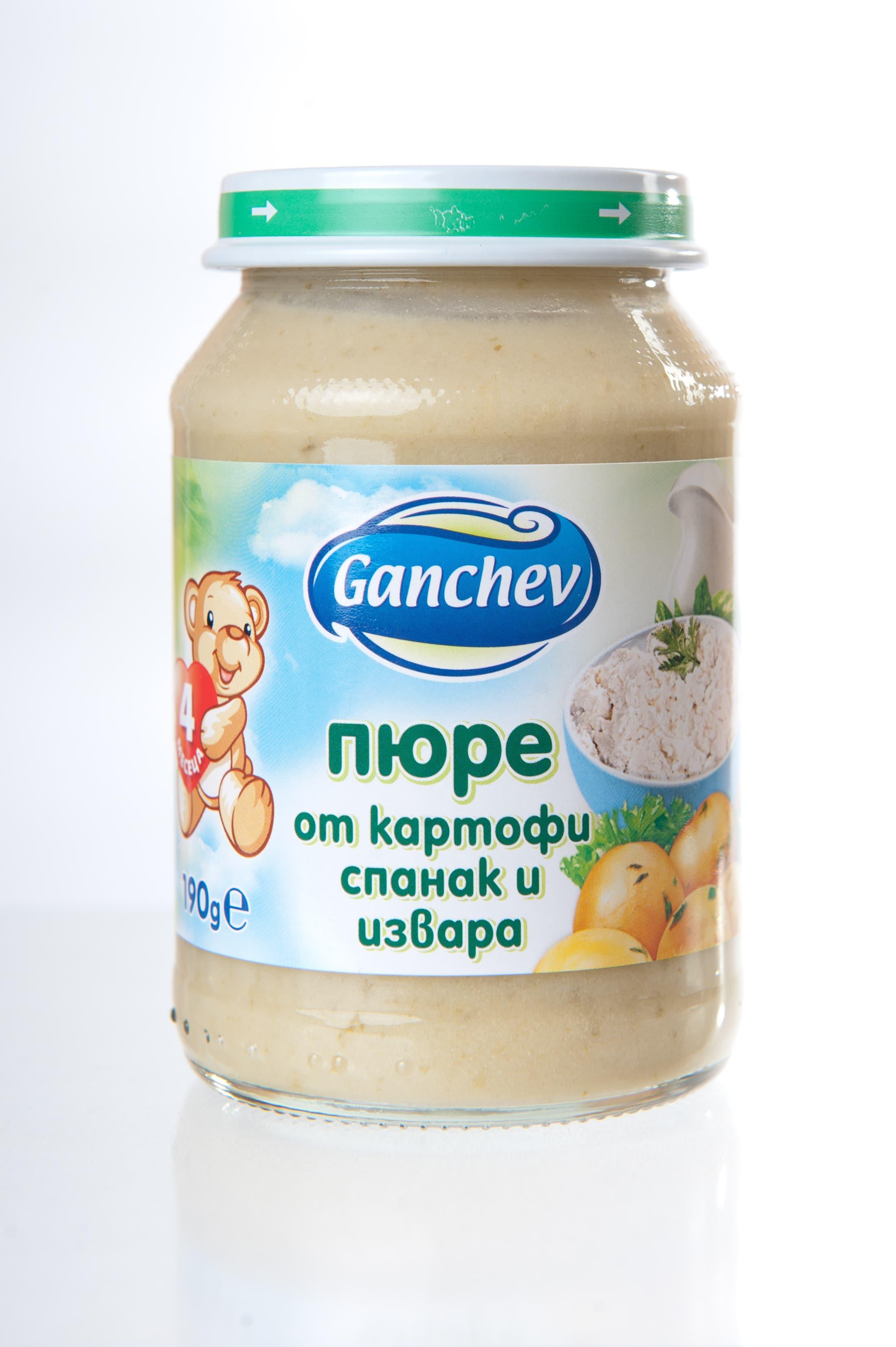Ganchev-пюре картофи спанак и извара 4м+ 190гр