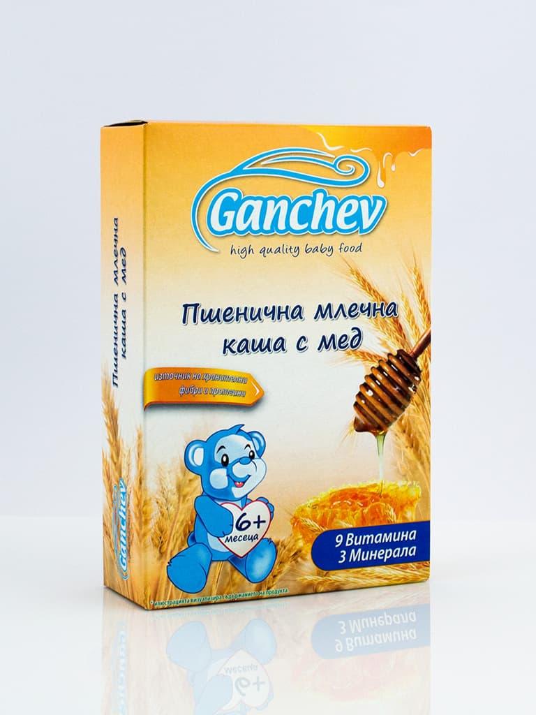 Ganchev-пшенична млечна каша с мед 6м+ 200гр