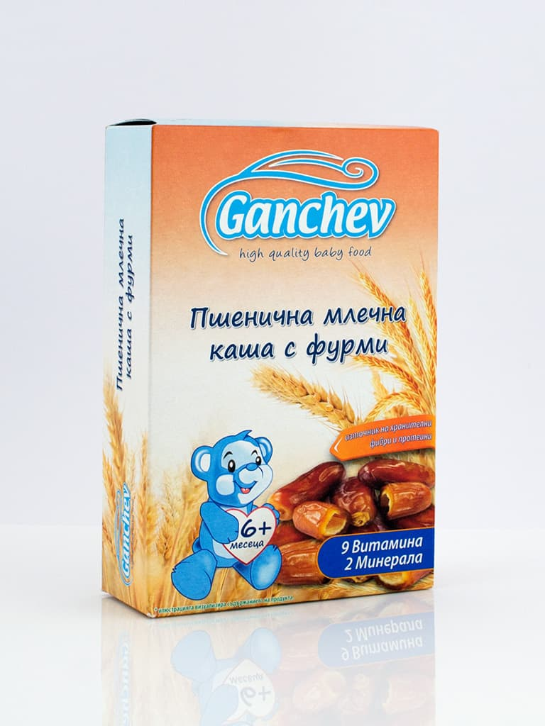 Ganchev-пшенична млечна каша с фурми 6м+ 200гр