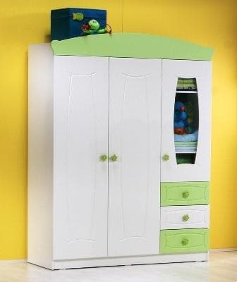Детски гардероб с три крила 1735 Belis - Цвят: Зелен