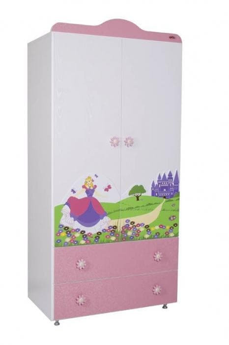 Babyhope- двукрилен гардероб 942 с картинка - Цвят: Розов