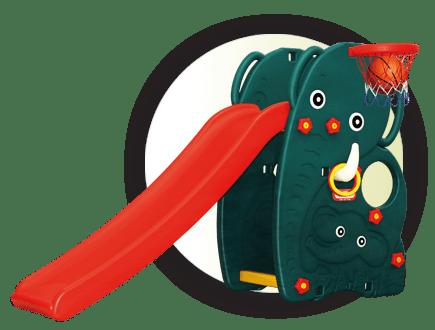 Детска пързалка Слонче с баскетболен кош JM706