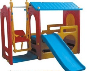 Детска площадка с пързалка и люлка