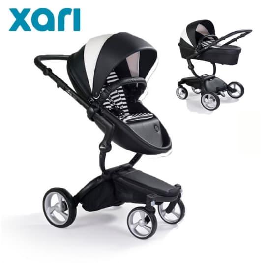 Бебешка количка Mima Xari Black/white 2в1