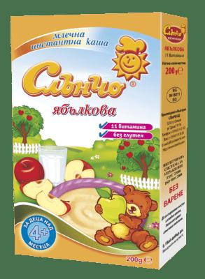 Слънчо-Ябълкова млечна каша 4м+ 200гр
