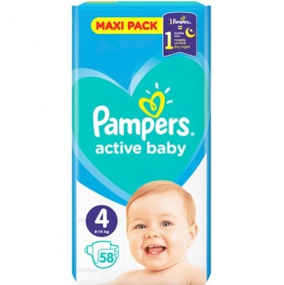 Pampers Active baby Maxi4 9-14кг 58бр