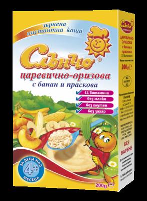 Слънчо- царевично-оризова каша с банан и праскова 4м+ 200гр