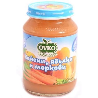 Ovko-Кайсии ябълки и моркови 4м+ 190гр