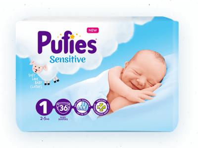 Pufies Sensitive Newborn1 2-5кг 36бр